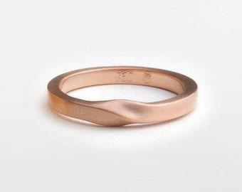 Rose Gold Twist Band, Thin Mobius Twist Wedding Ring Women, 18K Rose Gold Ring Band, 14k Solid Gold Minimal Wedding Ring