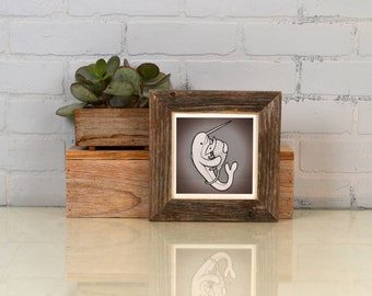 """6x6 Square Picture Frame in 1.5"""" Wide Rustic Natural Reclaimed Cedar - IN STOCK - Same Day Shipping - 6 x 6 upcycled picture frame handmade"""