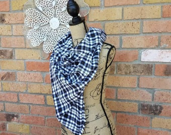 Black and White Scarf, Black Plaid Scarf, Triangle Scarf, Bandana Scarf, Black and White Plaid, Blanket Scarf, Plaid Flannel Scarf