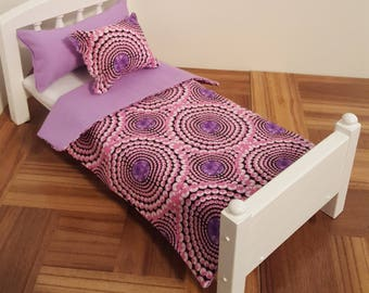 Bedding set for 1:6 scale bed/ 1 6 scale quilt and pillows/ 1 6 scale linens/ playscale bedding/ barbie size bedding/ doll bed linen/ purple