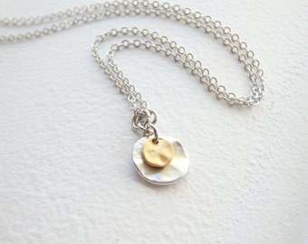 Silver and Gold little disc Necklace