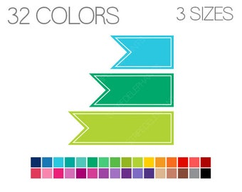 Banner Flag Clip Art - Banner Clipart - Flag Clipart - Digital Clipart - Pennants Clipart - Instant Download - Commercial Use