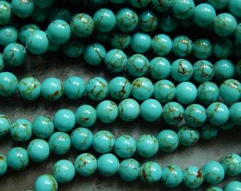 8mm Turquoise Mashan Jade Round Polished Gemstone Beads, Half Strand (INDOC515)