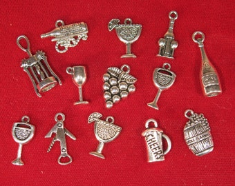 "SET! 13pc ""wine"" deluxe charms set in antique silver style (CS4)"