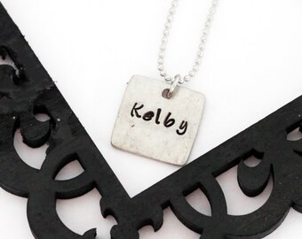 Square pewter name pendant necklace / hand stamped necklace / mommy necklace / personalize with your child's name and birthstone