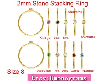 14K Yellow Gold Filled Stacking Ring W/2mm Stone US Size 8  Wholesale Jewelry Findings 1/20 14kt GF
