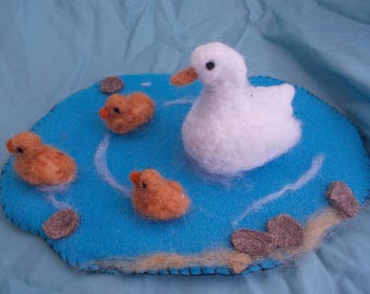 Needle felted duck family, duck pond, four ducks, ducks and ducklings, spring themed art, felt and needle felting, birds, water