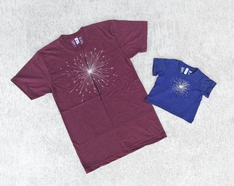July 4th Matching Tees Father Daughter, Dad and Baby Fireworks Sparkler Tshirt Set Clothing Gift, Red and Blue, BlackbirdSupply