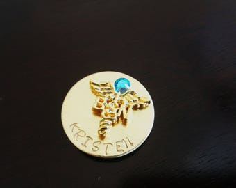 Gold Plated BSN Nursing Personalized Pin, Handstamped Nursing Gold Pin Graduation Gift, Nurse Pin, Bachelor Science Nurse Pin