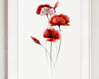 Poppy giclee art print watercolor poster floral living room abstract poppy flower red living room decor watercolor poppies home decor gift idea mightylinksfo