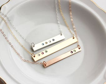 Mother's Day Gift - Personalized Bar Necklace with Birthstones, Gold Bar,Custom, Gift for Mom, Gift for Her, Mother's Day Gift, Mother's Day