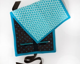 Quilted Pencil Case - Brown/Teal Polka Dots