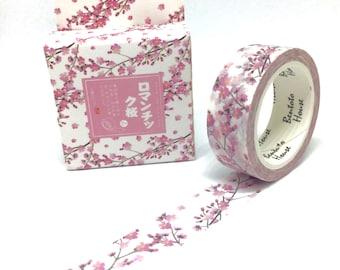 Pink Cherry Blossom Floral Washi Tape - Flower Sakura Masking