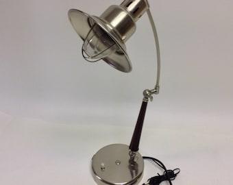 Vintage Industrial Metal Desk Lamp with telephone Jack