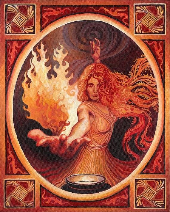 Brigid Imbolc Celtic Goddess of Inspiration 16x20 Poster Print Pagan  Mythology Psychedelic Bohemian Gypsy Goddess Art