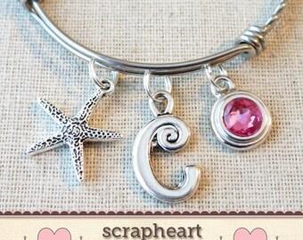 Personalized Initial Bangle Bracelet, Starfish Bangle Bracelet, Starfish Pendant Jewelry, Starfish Charm Bracelet, Wedding On Beach Jewelry
