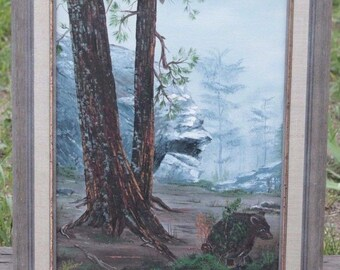 """Country Landscape Original Oil Painting Bear Cub Watch Signed D.L Patterson 12"""" x 16 Framed"""