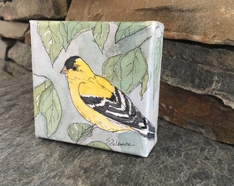 Small Goldfinch Bird Decor Painting Watercolor Ink Canvas Songbird Knicknack Tiny Wall Nature Art