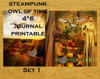 Steampunk Owl of Time Journal Printable Kit- link
