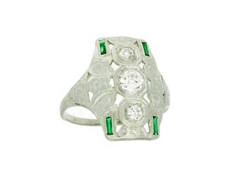 Diamond and Green Stone Filigree Estate Ring