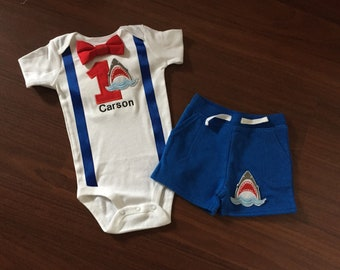 Shark first birthday baby boy outfit, baby boy shark theme 1st Birthday Party