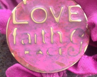Hot Pink Love Faith  Vintaj Brass Charm on Silk Sari Ribbon Affirmation Necklace   Upcycled Jewelry  Boho