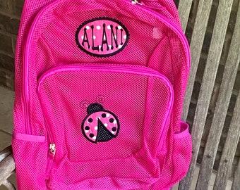 Ladybug Backpack   Mesh Backpack   Monogrammed Backpack   Girls Bookbag   Clear Backpack   Back to School   Personalized Backpack   Bookbag