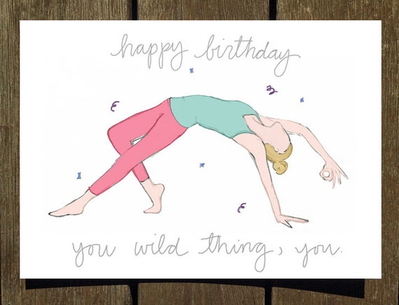 Happy birthday you wild thing you yoga birthday card like this item bookmarktalkfo Image collections