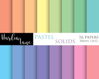 75% OFF SALE Solid Pastel Digital Paper, Scrapbooking Digital Paper, Invitation Digital Paper