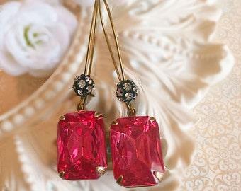 Art Deco Jewelry - Deep Rose Earrings - Art Deco Earrings - Pink Earrings - Spring Jewelry - MADELINE Pink