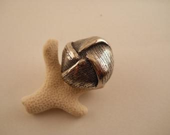 BUTTON: Silver Knot button  1 1/8 inche,s retro