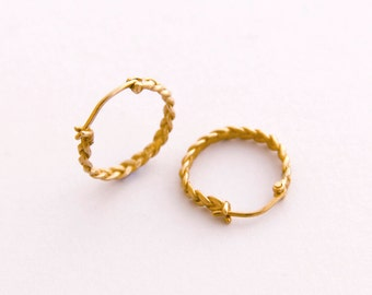 14k Gold Hoop Earrings, 14k Gold Hoops, 14k Hoops, Braided Hoop Earrings Gold Earrings Hoops, Nickel Free hoops, Unique Hoops