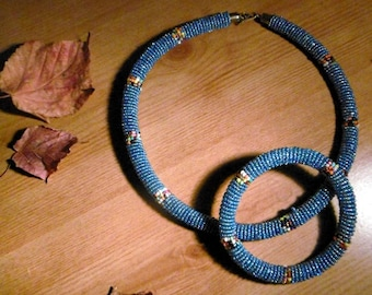 Classy Blue Beaded Necklace - Handmade in Kenya