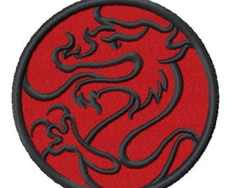 Dragon Circle (3.02 x 3.02) Iron-on Patch - Iron on Patch - Embroidered Patch