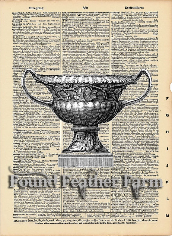 """Vintage Antique Dictionary Page with Antique Print """"Architectural Urn Two"""""""