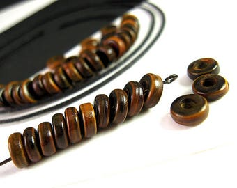 150 SMALL Brown Horn Beads, 6mm, Two Tone, RUSTIC Brown, Horn Spacer Beads, Chocolate Brown, Caramel Brown, Horn Rondelle, Horn Disk HN11