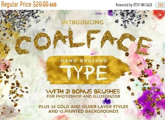 70% OFF Sale Coalface Brush Font Typeface - Plus BONUS Gold and Silver Photoshop Layer Styles, Brushes, Backgrounds