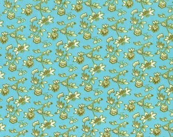 Quilting cotton fabric by the yard, aqua calico print, small floral, 100% premium cotton by Paula Prass. Need more fabric yardage? Just ask