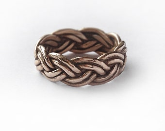 Bronze Braided Ring band - oxidized and polished - made in my Austin, Tx studio