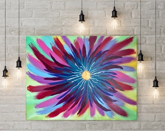 Large Abstract Flower Painting on Canvas - Colorful Flower Painting - Abstract Painting Colorful - Large Floral Painting  -Colorful Painting