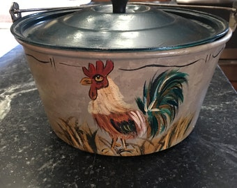 Vintage hand painted Rooster pot