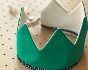Fabric Crown / Emerald Green and Ecru