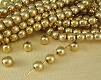20 Solid Brass Round Shiny Polished Seamless Spacer 6mm Quality Jewelry Raw Brass 6.3mm Natural Metal Beads with a brass antique look