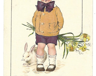 Vintage Postcard - Raphael Tuck and Sons - Joyous Youth Easter Postcard - Series No 761 - I Bring You Loving Easter Greetings