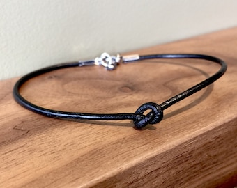 Leather Simple Knot Bracelet Stainless Steel