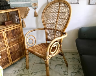 Vintage Natural Bent Rattan Peacock Chair