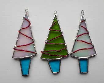 Stained glass Christmas tree decorations ornaments. Set of 3. Holiday decor Christmas decor Tree decor
