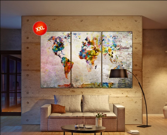 large world map canvas  print on canvas Large large world map canvas print art artwork large world map Print home office decoration