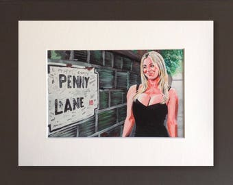 BIG BANG THEORY wall art - giclee print of 'Penny's Lane' acrylic painting by Stephen Mahoney - Kaley Cuoco as Penny in that iconic dress