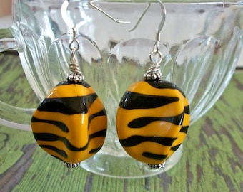 Earrings Golden Yellow Zebra Striped Acrylic Bead Jewelry OOAK
